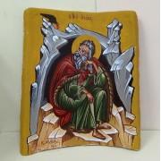 Αγιογραφία σε βυζαντινή παλιά κεραμίδα - Προφήτης Ηλίας