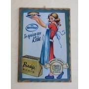 Ξύλινο καδράκι - Παλιά διαφήμιση Βιτάμ Α4
